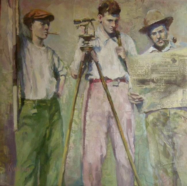 """Three Surveyors"" original fine art by Katie Wilson"