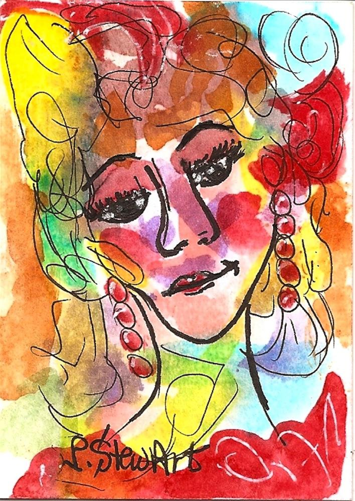 """""""ACEO Vegas Show Girl Watercolor and Pen, Original Art, not a print, colorful"""" original fine art by Penny Lee StewArt"""