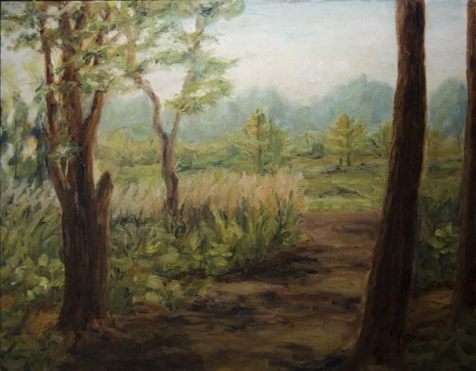 """""""Path in Woods"""" original fine art by Rachel Steely"""