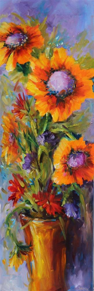 """Original oil sunflower floral still life painting"" original fine art by Alice Harpel"