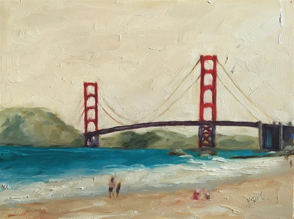 """Red: Bridge, Wine, & Shins"" original fine art by Hallie Kohn"
