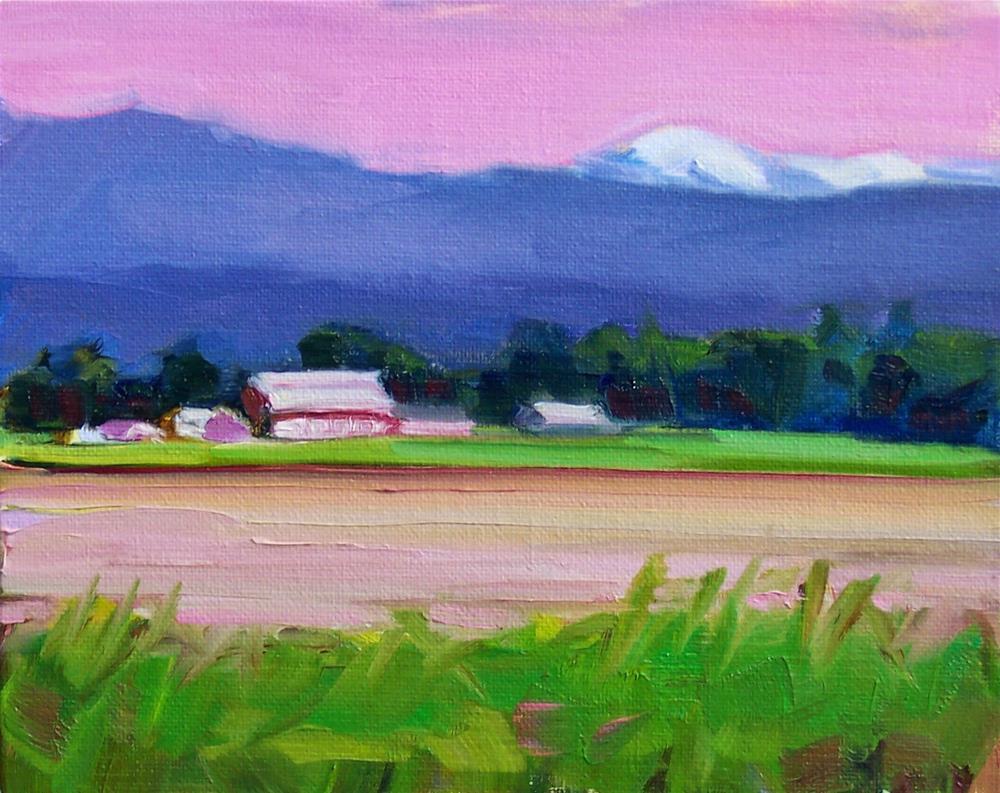 """Red and Green,landscape,oil on canvas,8x10,priceNFS"" original fine art by Joy Olney"