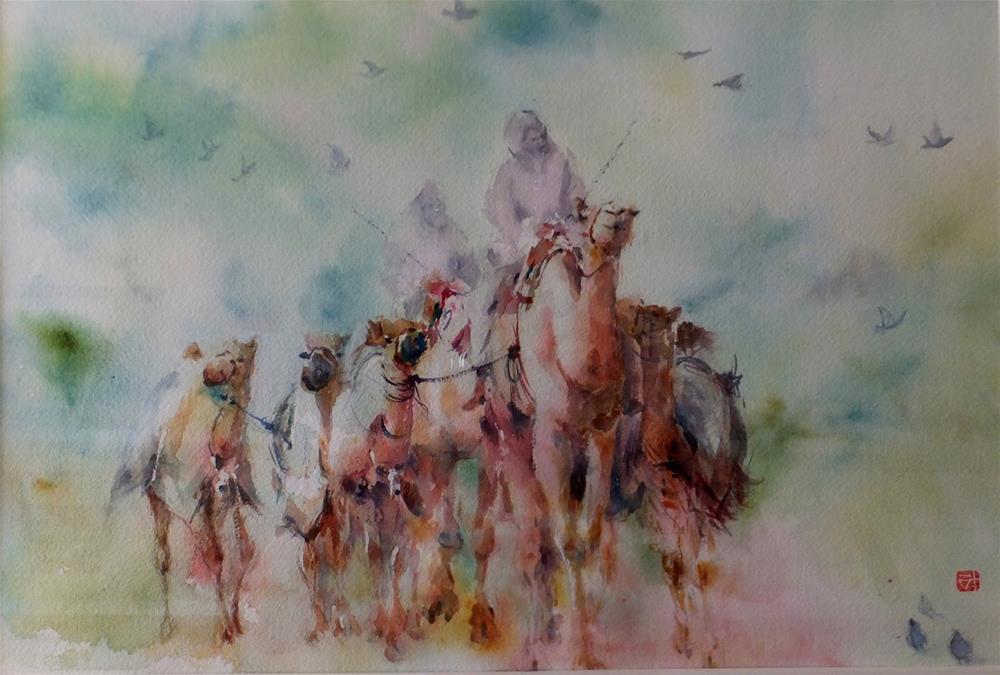 """""""Al Ain camel race track"""" original fine art by Midori Yoshino"""
