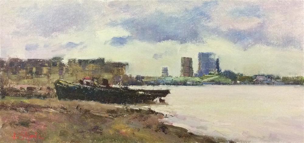 """Boatyard at Greenwich "" original fine art by John Shave"