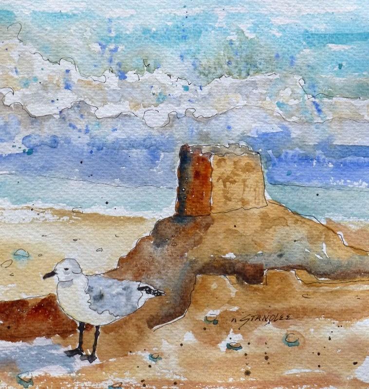 """Sand Castle 13102"" original fine art by Nancy Standlee"