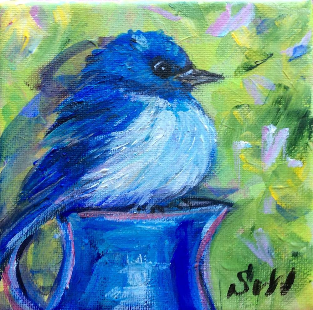 """""""Bluebird with blue jug 2"""" original fine art by Sonia von Walter"""