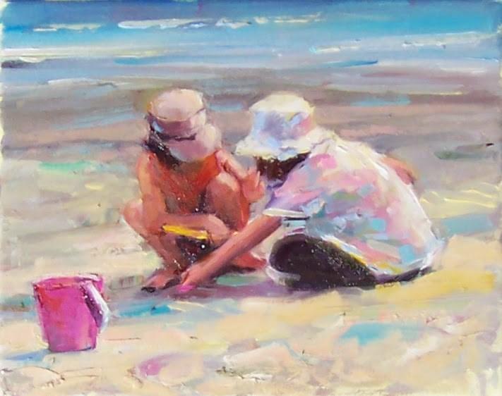 """Sand Diggers,figures,oil on canvas,8x10,price$275"" original fine art by Joy Olney"
