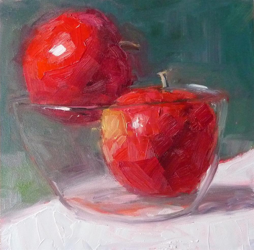 """Valentine Apples"" original fine art by Carol Josefiak"
