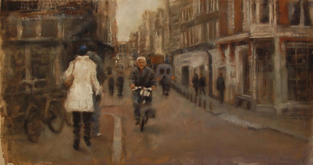"""A walk through Amsterdam"" original fine art by Zoran Rnjak"
