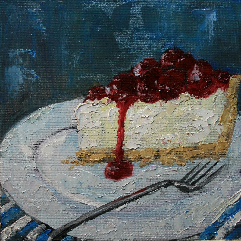 """Cherry Cheesecake"" original fine art by Jean Nelson"
