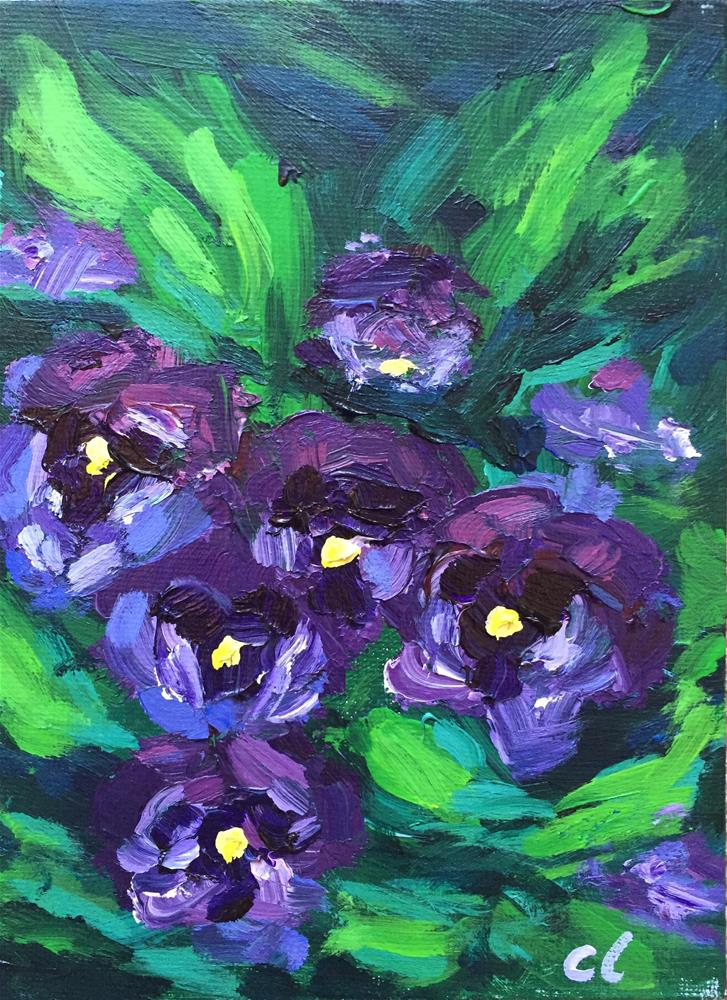 """Purple Pansies"" original fine art by Cheree Apalona Lueck"