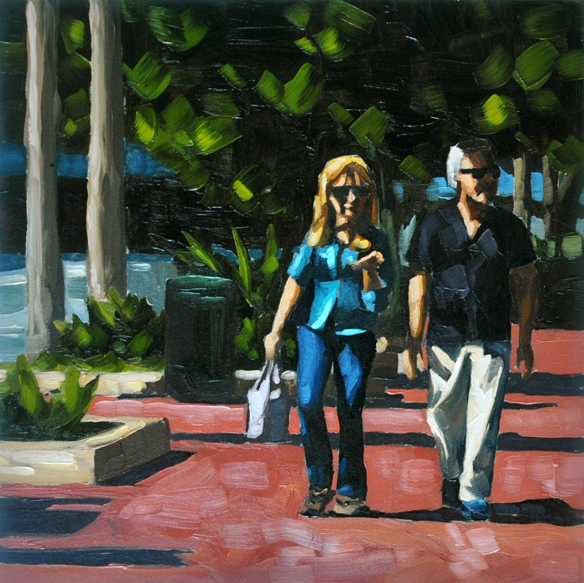 """State Street Shopping - 6x6"" original fine art by Sharon Schock"