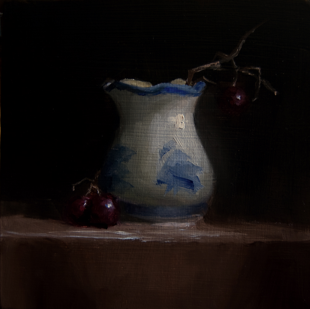 """""""Small Vase and Hanging Grape"""" original fine art by Neil Carroll"""