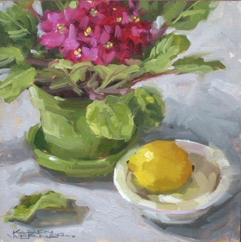 """""""Violets & Lemon"""" original fine art by Karen Werner"""