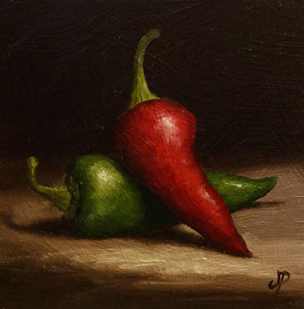 """""""Chillies"""" original fine art by Jane Palmer"""