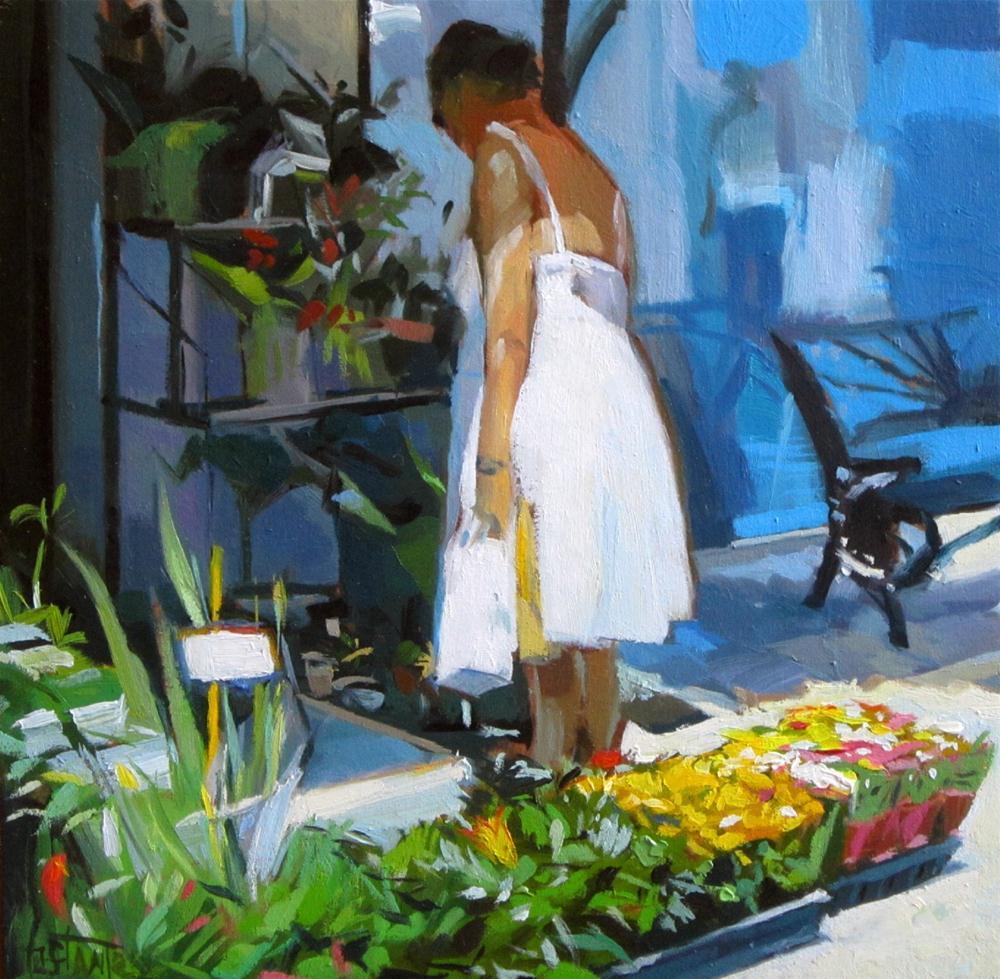 """Choosing a plant"" original fine art by Víctor Tristante"