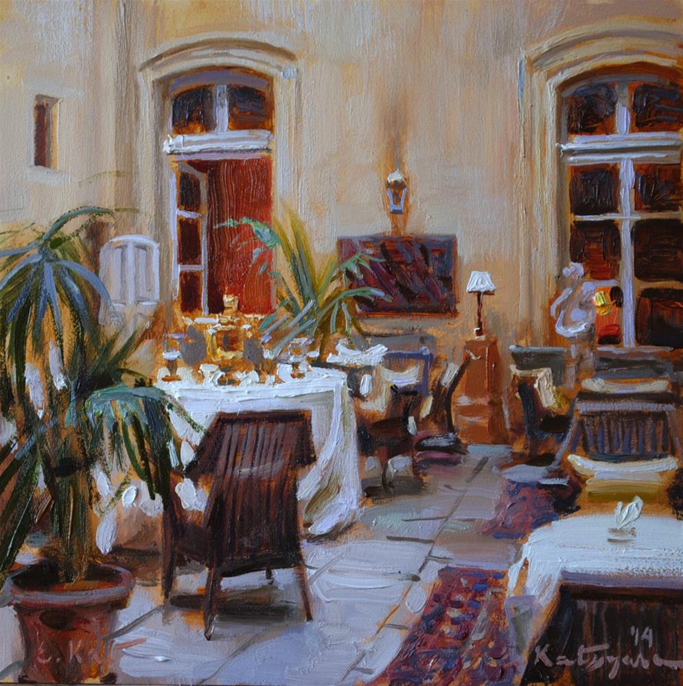 """""""Hotel Courtyard"""" original fine art by Elena Katsyura"""