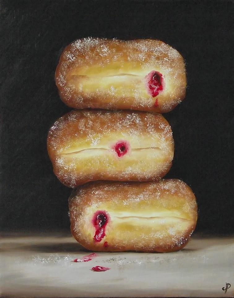 """Doughnut trio & an interview!"" original fine art by Jane Palmer"