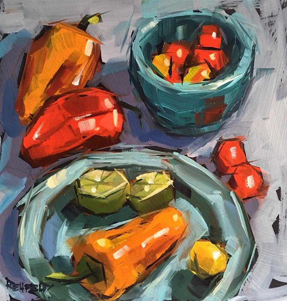 """Salsa Peppers"" original fine art by Cathleen Rehfeld"