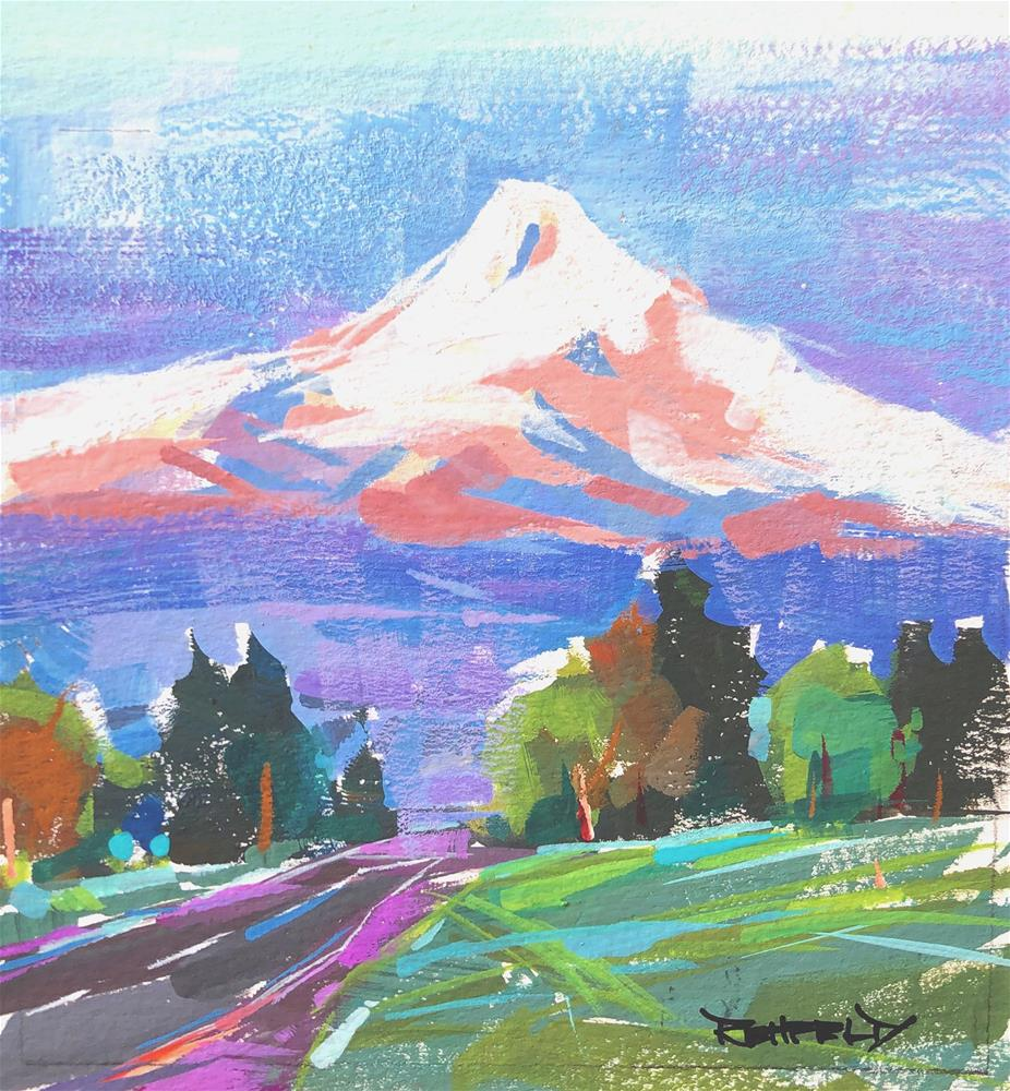 """Mt Hood - Gouache Painting"" original fine art by Cathleen Rehfeld"