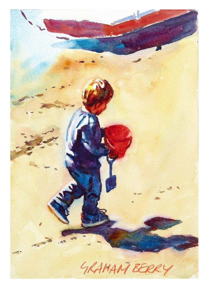 """""""Boy with a red bucket"""" original fine art by Graham Berry"""