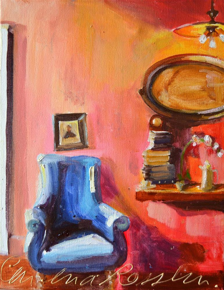 """BLOU RUSSTOEL"" original fine art by Cecilia Rosslee"
