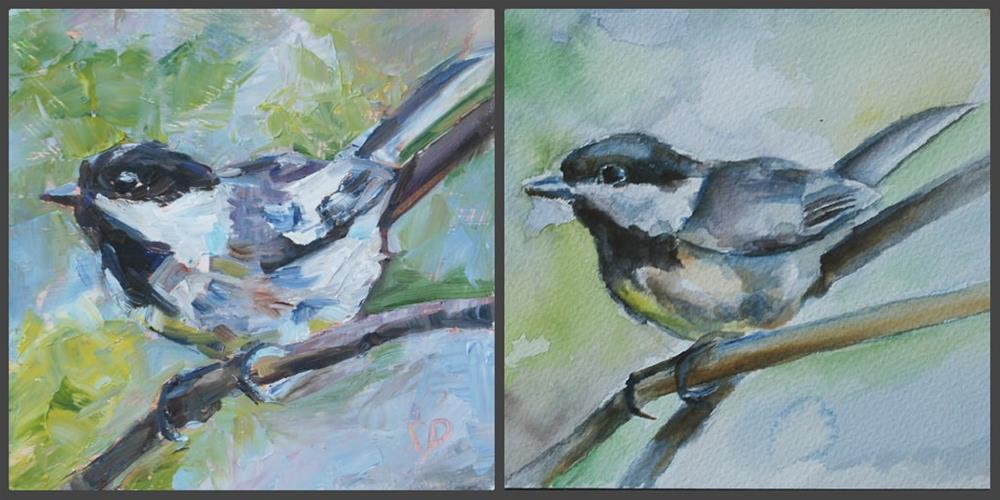 """Little Chickadee"" original fine art by Carol DeMumbrum"