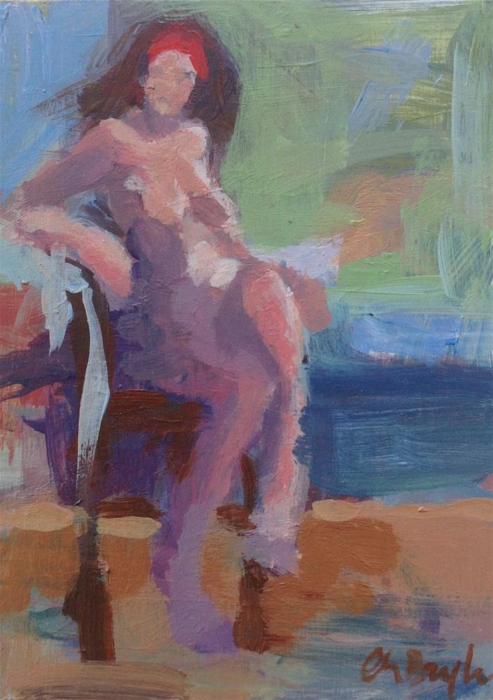 """Nude sketch (seated)"" original fine art by Christine Bayle"