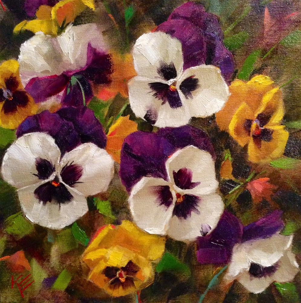 """""""White & Yellow Fall Pansies 12x12 on 1.5 Thick gallery wrap canvas"""" original fine art by Krista Eaton"""