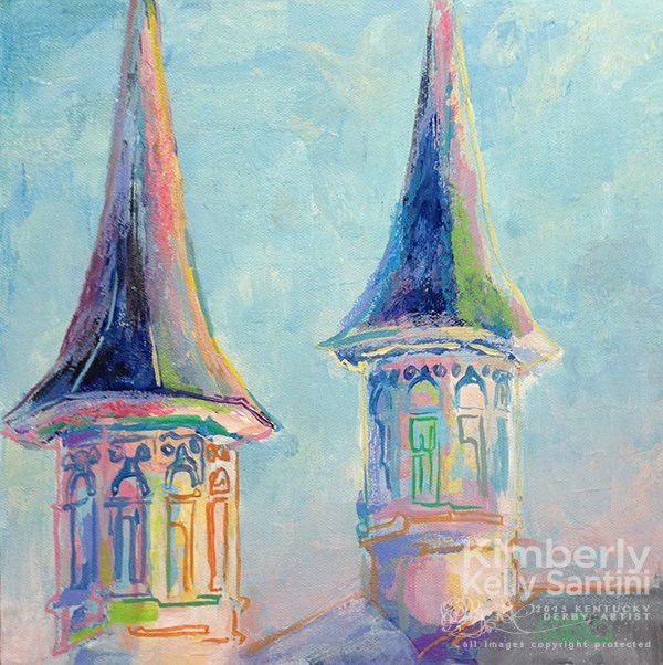 """The Twin Spires (Churchill Downs)"" original fine art by Kimberly Santini"