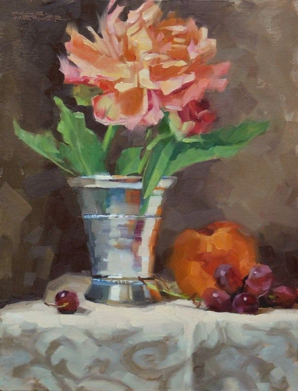 """Peach & The Giant Peony"" original fine art by Karen Werner"
