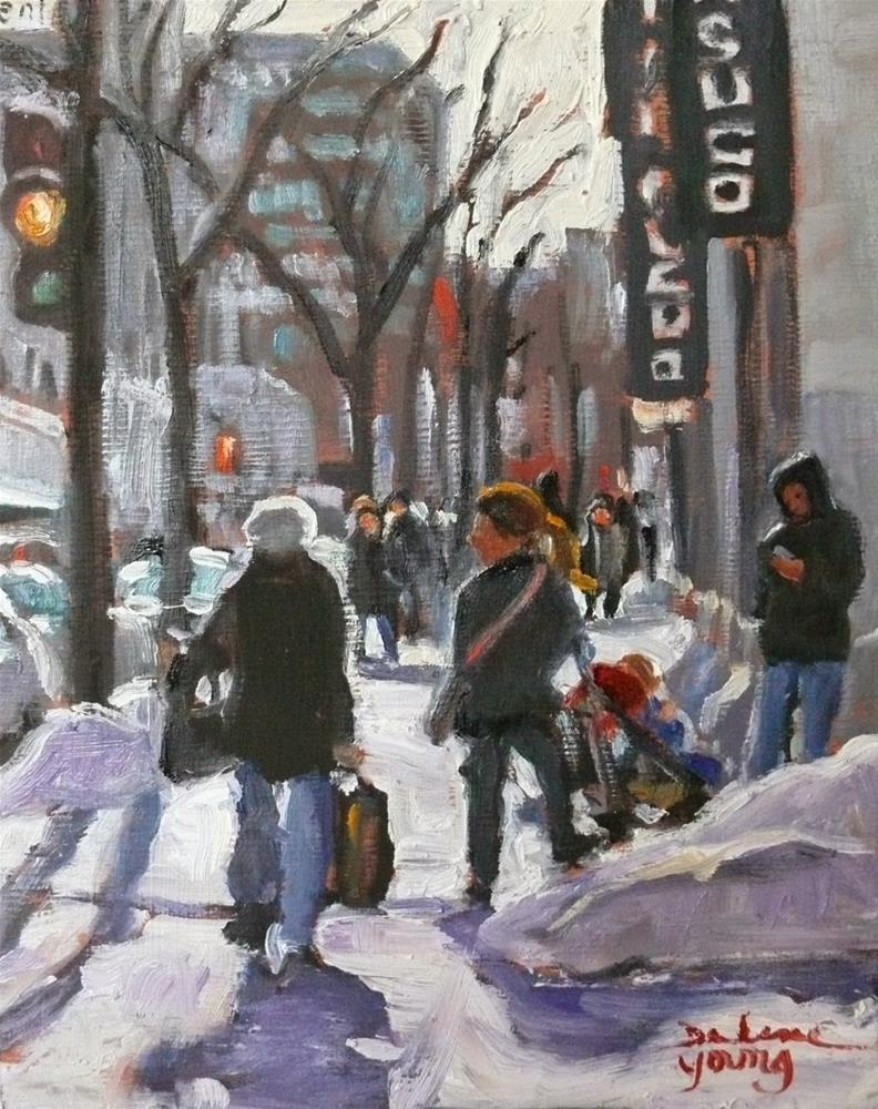 """811 Montreal Winter, Ste-Catherine Street, 8x10, oil"" original fine art by Darlene Young"