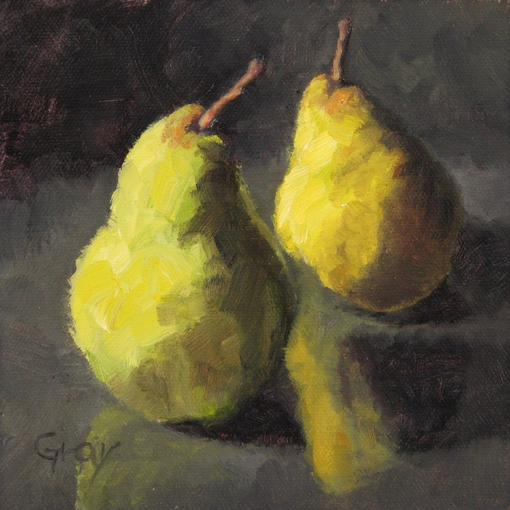 """""""Two Pears & Reflections"""" original fine art by Naomi Gray"""