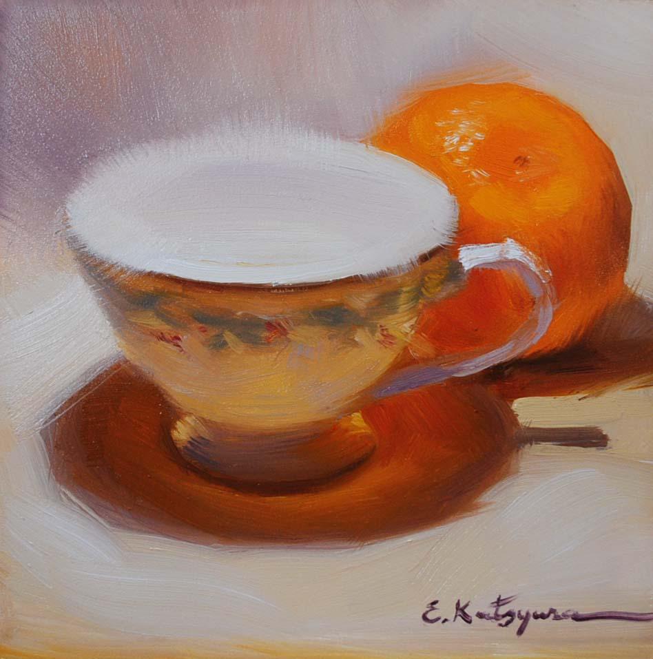 """China and Orange"" original fine art by Elena Katsyura"