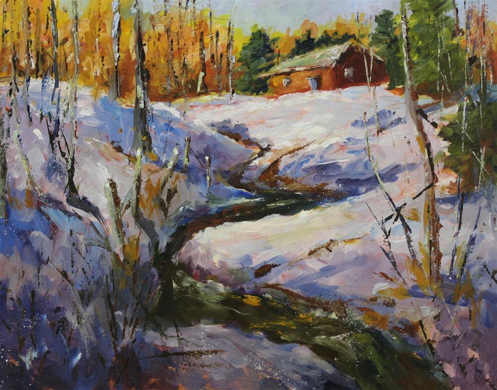 """Original oil landscape red barn ravine painting"" original fine art by Alice Harpel"