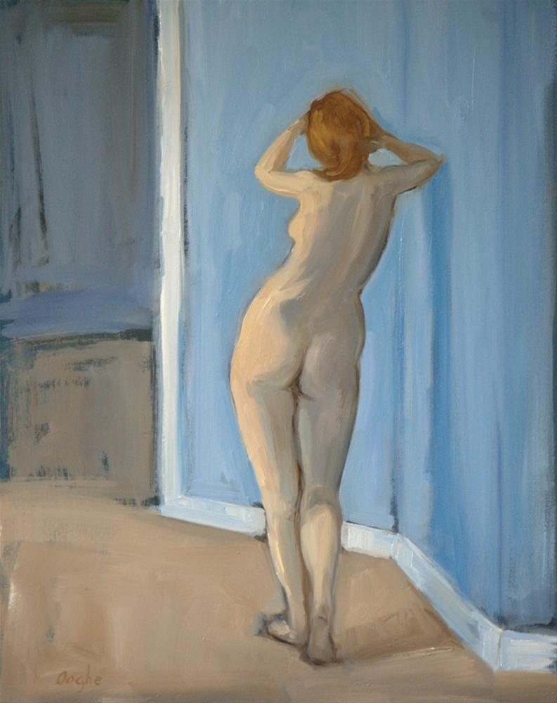 """Nude Standing in Blue Room"" original fine art by Angela Ooghe"