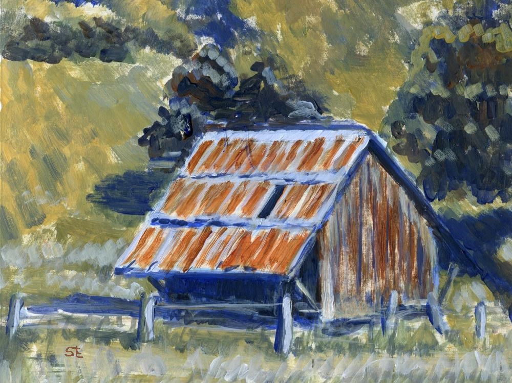 """California Barn"" original fine art by Stanley Epperson"
