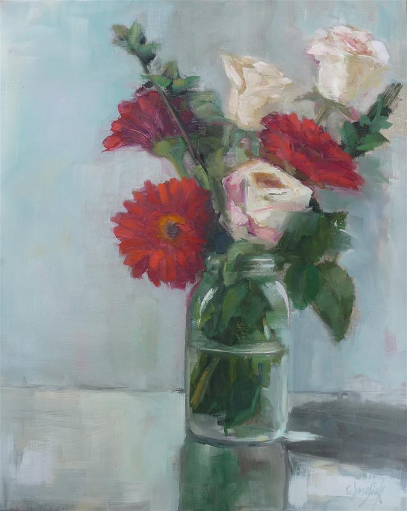 """Gerbers and Roses"" original fine art by Carol Josefiak"