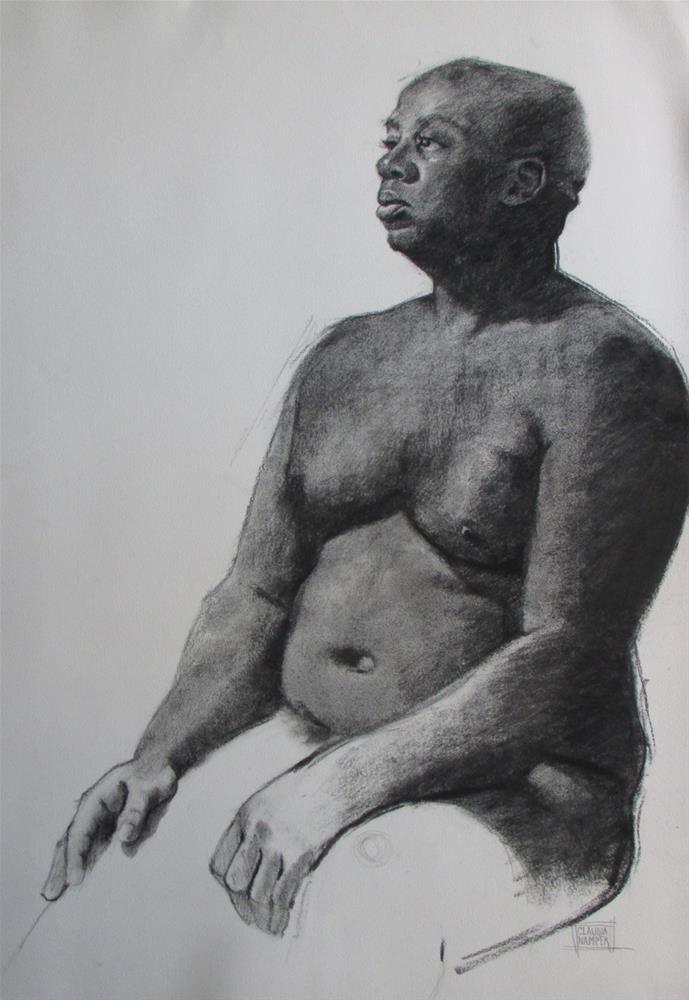 """Lavaski, three quarter  30in x 20in  charcoal"" original fine art by Claudia Hammer"