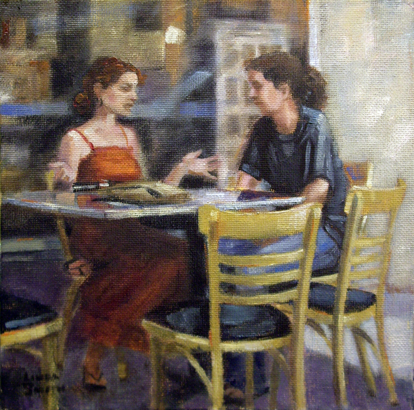 """""""Outdoor Cafe Chat"""" original fine art by Linda K Smith"""