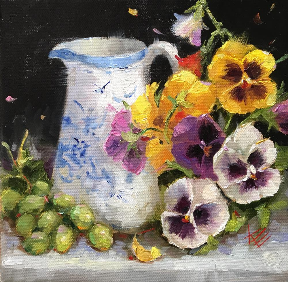 """Pansies in Blue & White pitcher"" original fine art by Krista Eaton"