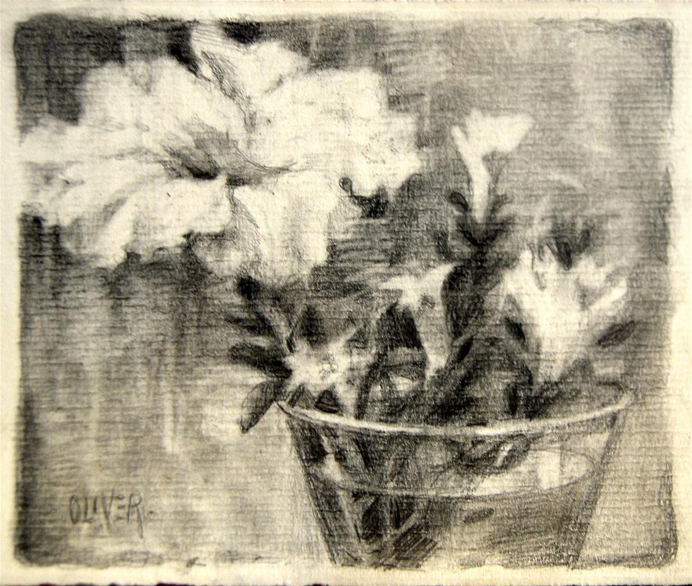 """""""Drawing the Petunia"""" original fine art by Julie Ford Oliver"""