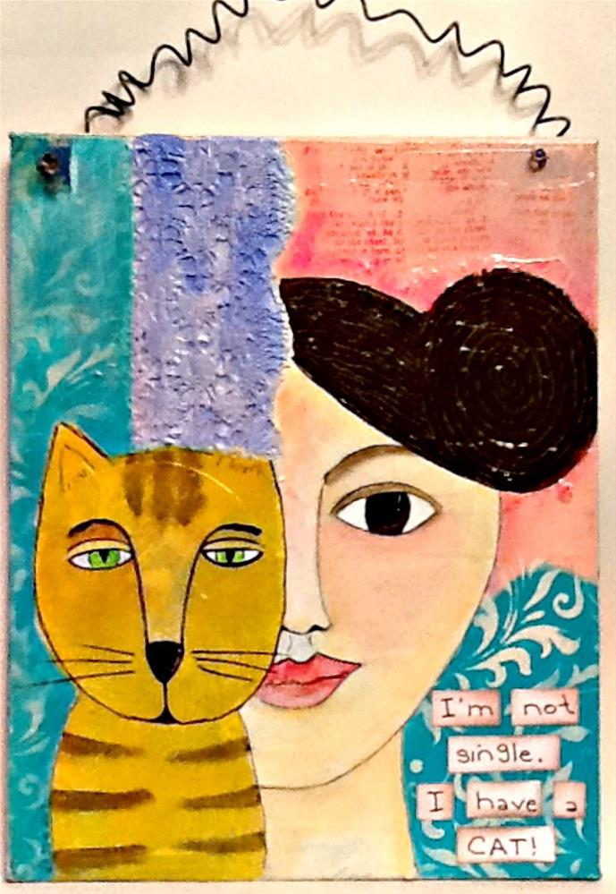 """SINGLE WITH CAT"" original fine art by Cindy Zoglmann"