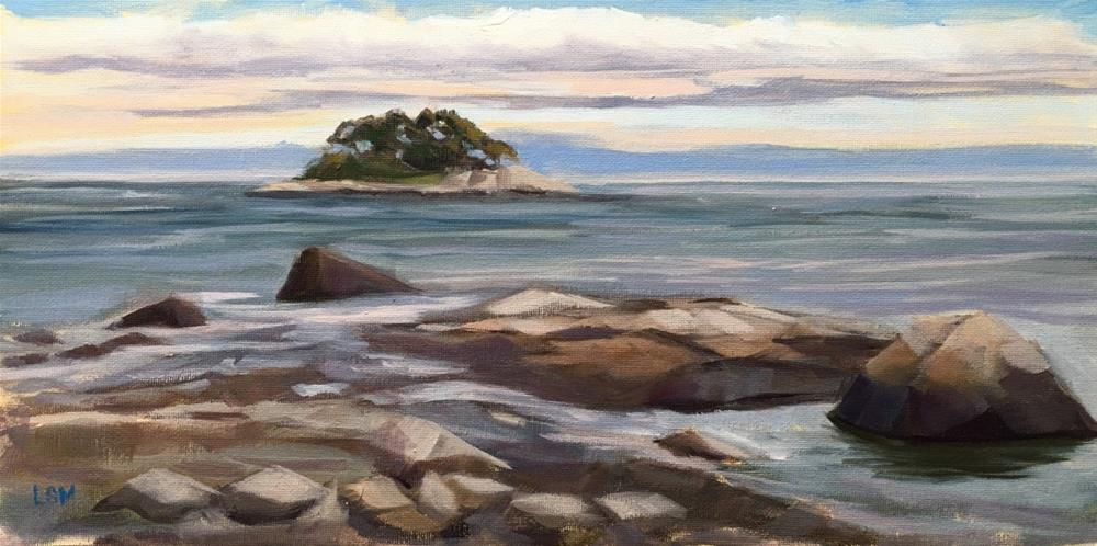 """View from the Rocks, Cedar Island Madison, CT"" original fine art by Linda Marino"