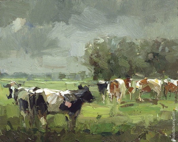 """""""Rain Approching, Cows and Trees"""" original fine art by Roos Schuring"""