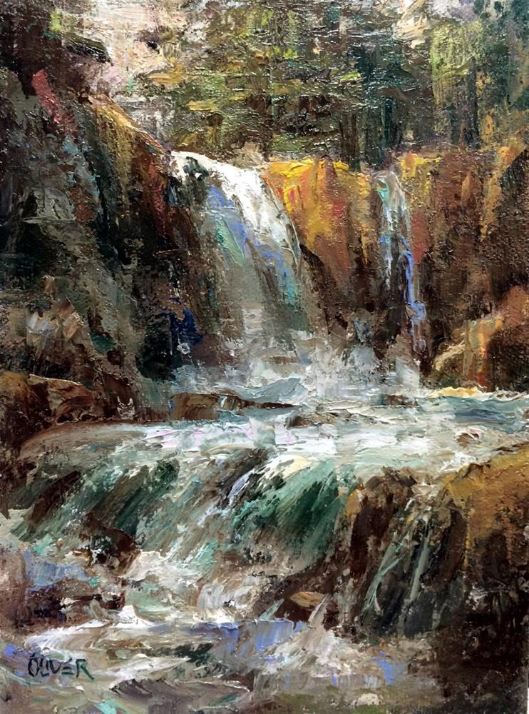 """Yellowstone  - Waterfall Near Sylvan Pass."" original fine art by Julie Ford Oliver"
