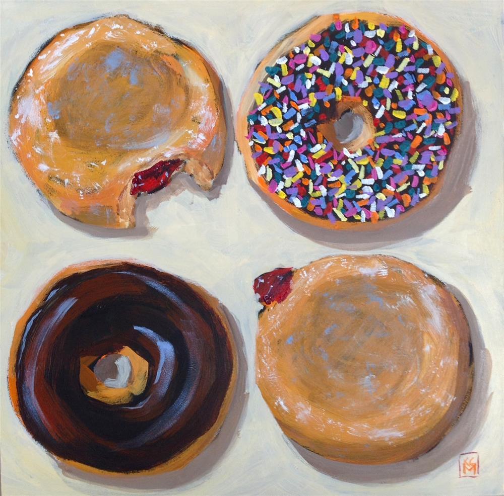 """Jelly War, 12x12 inch Framed Acrylic jPainting by Kelley MacDonald"" original fine art by Kelley MacDonald"