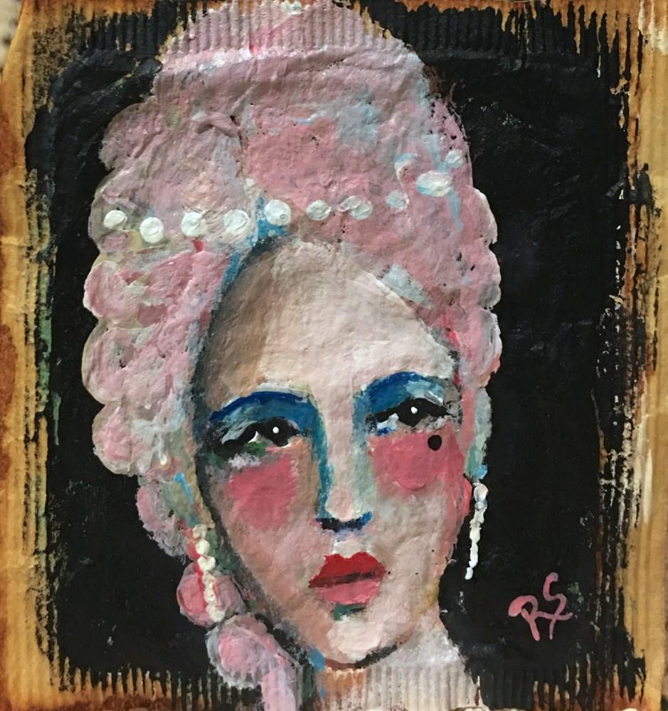 """Tea Bag Portrait - Josephina"" original fine art by Roberta Schmidt"