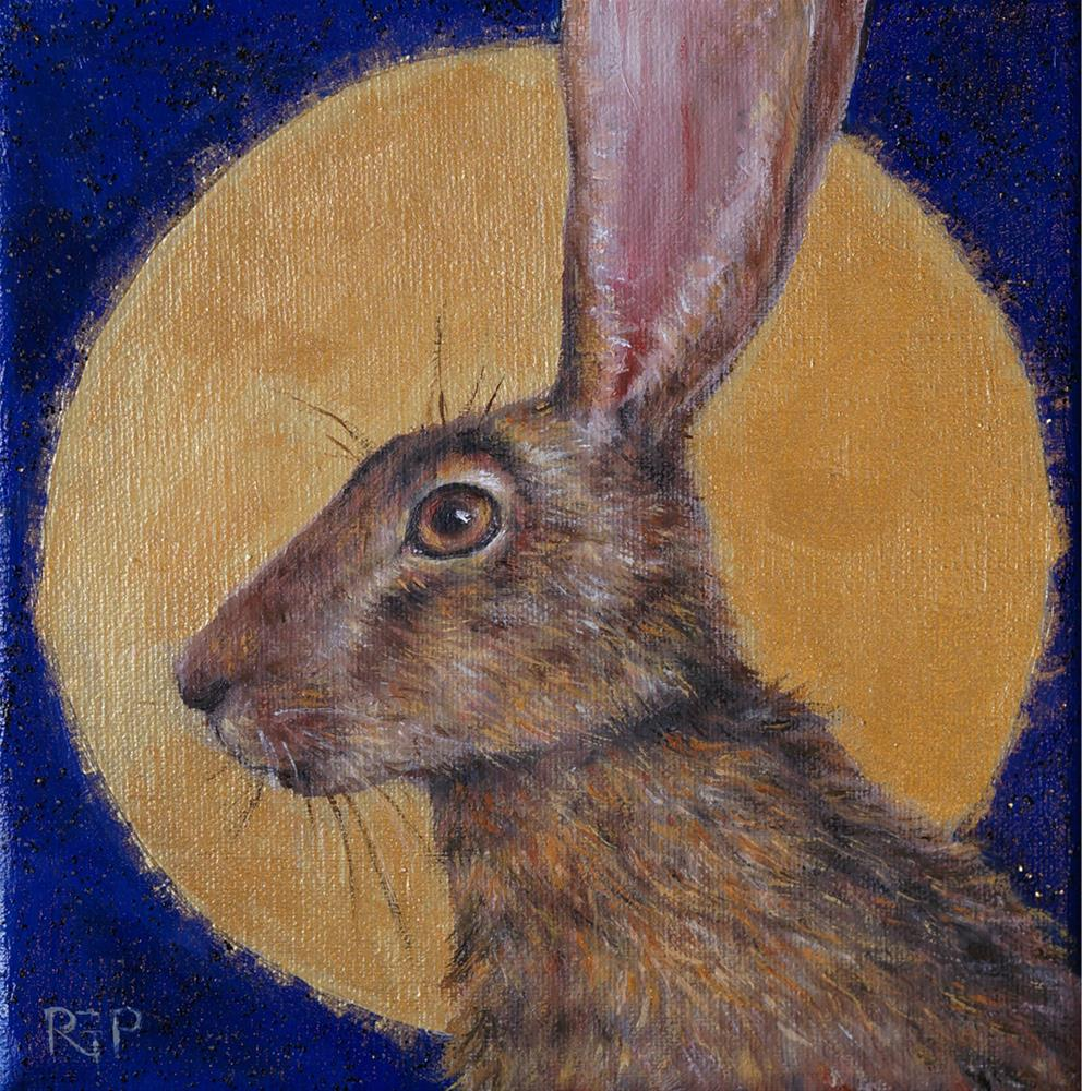 """Full Moon Hare"" original fine art by Rhea  Groepper Pettit"