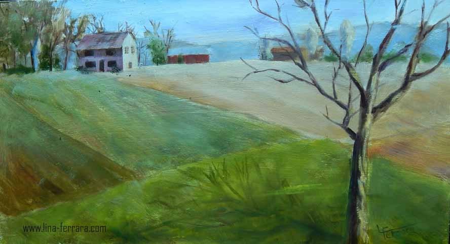 """Spring Fields"" original fine art by Lina Ferrara"